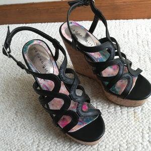 Black Madden Girl Strappy Sandal Wedges